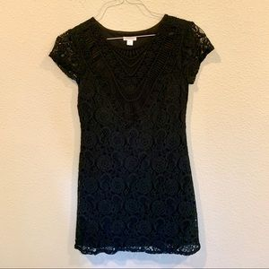 Black lace LBD dress cap sleeve